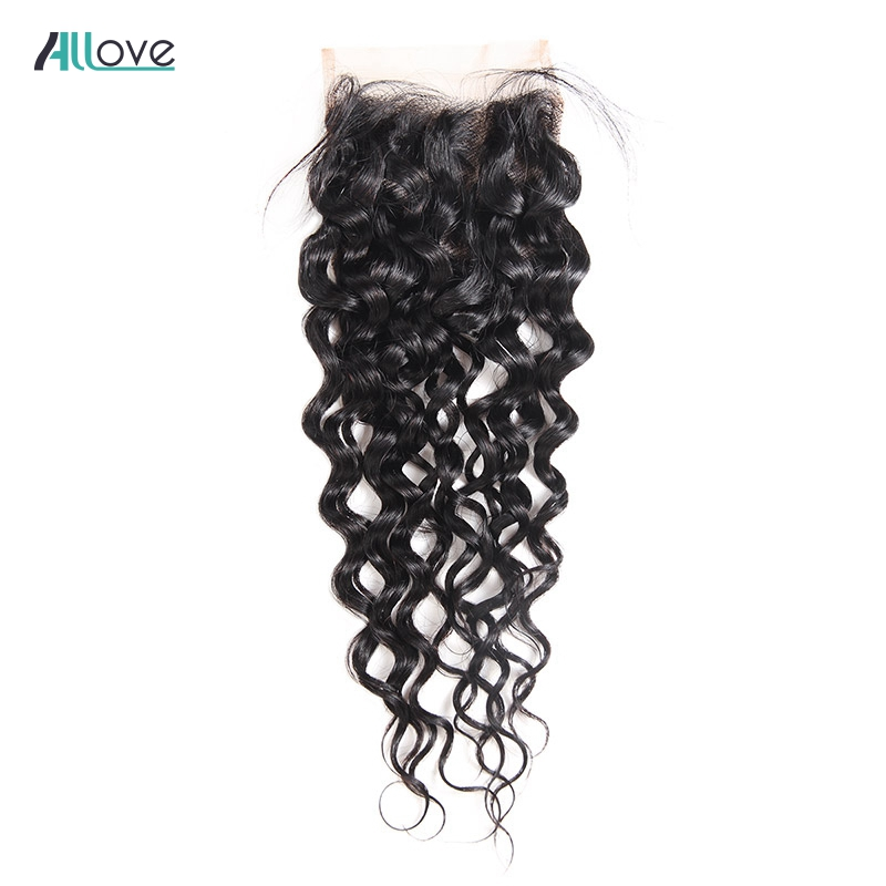 Allove Human Hair Lace Closure Brazilian Water Wave Lace Closure Natural Color Non Remy Free Part