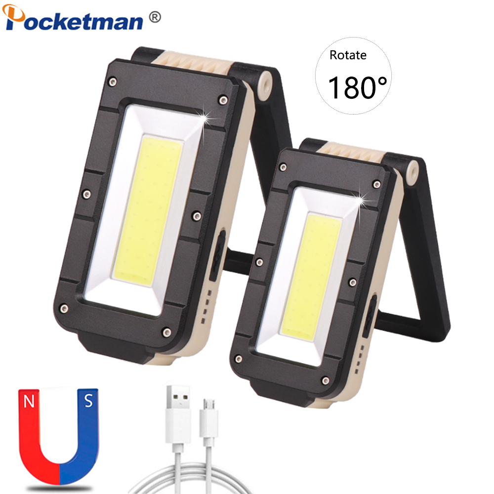 Poderoso COB + XPE Luz de Trabalho Recarregável USB Magnético Lanterna Tocha Luz LED Luz de Trabalho com Gancho de Suspensão Lanterna USB lâmpada