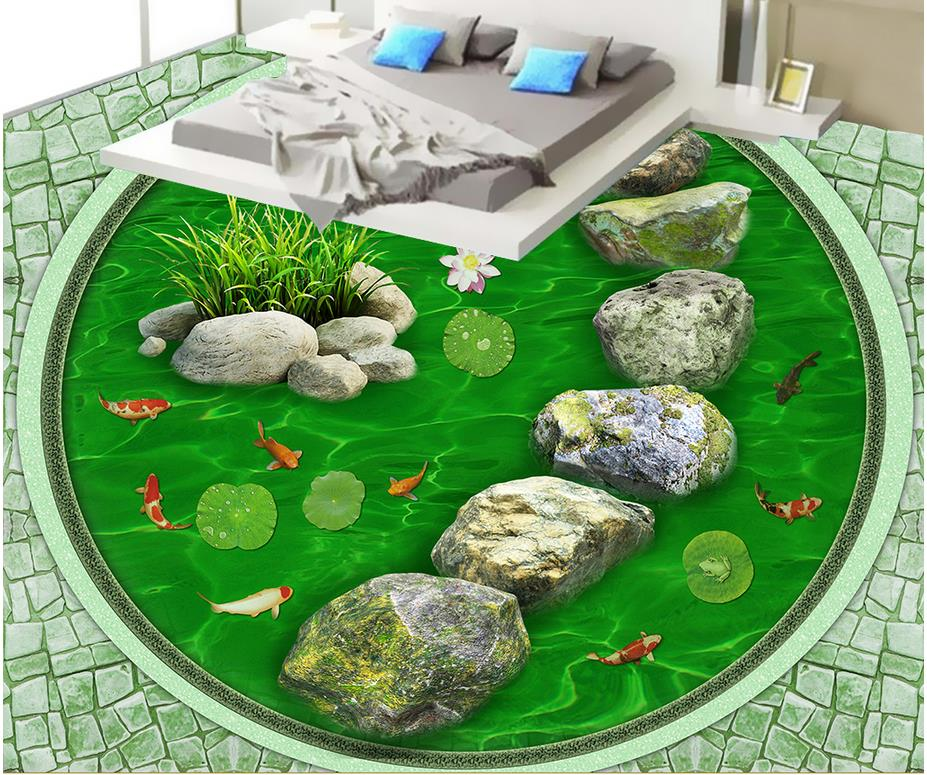 3D wallpaper floor for living room fish louts 3D stereoscopic wallpaper floor Wallpaper floor mural custom baby wallpaper snow white and the seven dwarfs bedroom for the children s room mural backdrop stereoscopic 3d