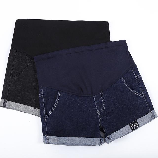 Summer Cotton Maternity Clothing Denim Short mother Jean Pants For Pregnant Women Elastic Waist Jeans Pregnancy Clothes