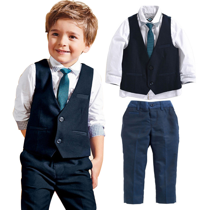 for Toddler Kids Boy Gentleman Suit Waistcoat White Shirt and Pant with Tie Long Sleeve Clothing Set