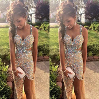 Sparkly Crystal Rhinestones Sequins Prom Gowns Cross Straps Back Side Split Floor Length Evening Gown Hand Made Dress