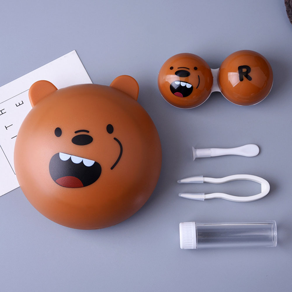 AudWhale Cartoon Bear Contact Lens Case Cute Animal Contact Lens Care Suit Cute Lens Container For Women And Men