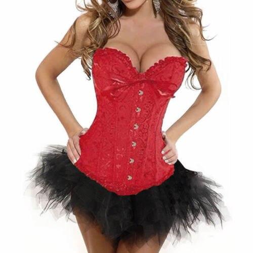 Mulheres Sexy Burlesque fantasia espartilhos e corpetes Tutu / saia preto / branco / vermelho de cetim roupa Korsett Halloween