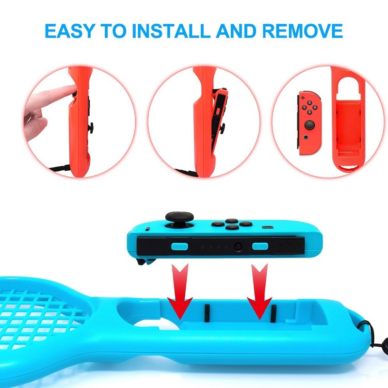 Купить с кэшбэком For Nintendos Switch NS Tennis ACES Game Player For Nintend Switch Joy-con ABS Tennis Racket Handle Holder with 2 game stickers
