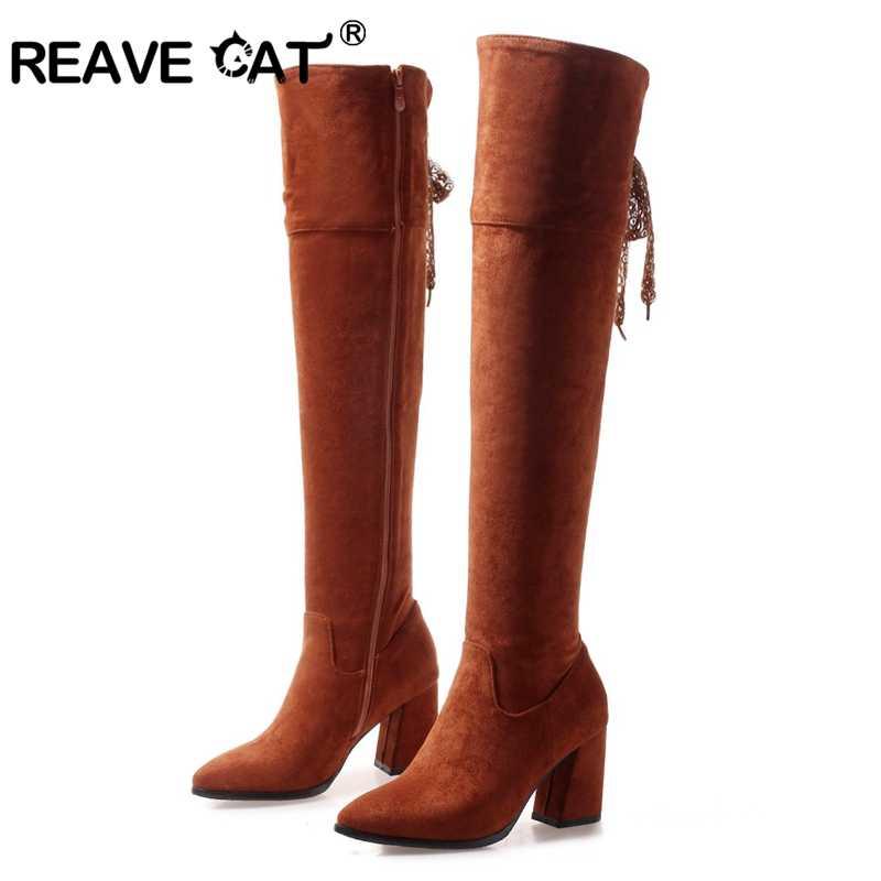 Женские ботфорты на шнуровке REAVE CAT, сапоги на высоком каблуке, флоковые популярные сапоги с острым носком и застежкой-молнией, A1465