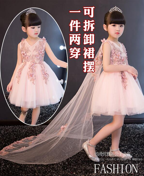 girl dress for wedding party new style flowers princess girls dresses children clothing summer girl Dovetail dresses 1-12Y