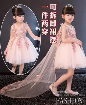 girl dress for wedding party new style flowers princess girls dresses children clothing summer girl Dovetail dresses 1-12Y