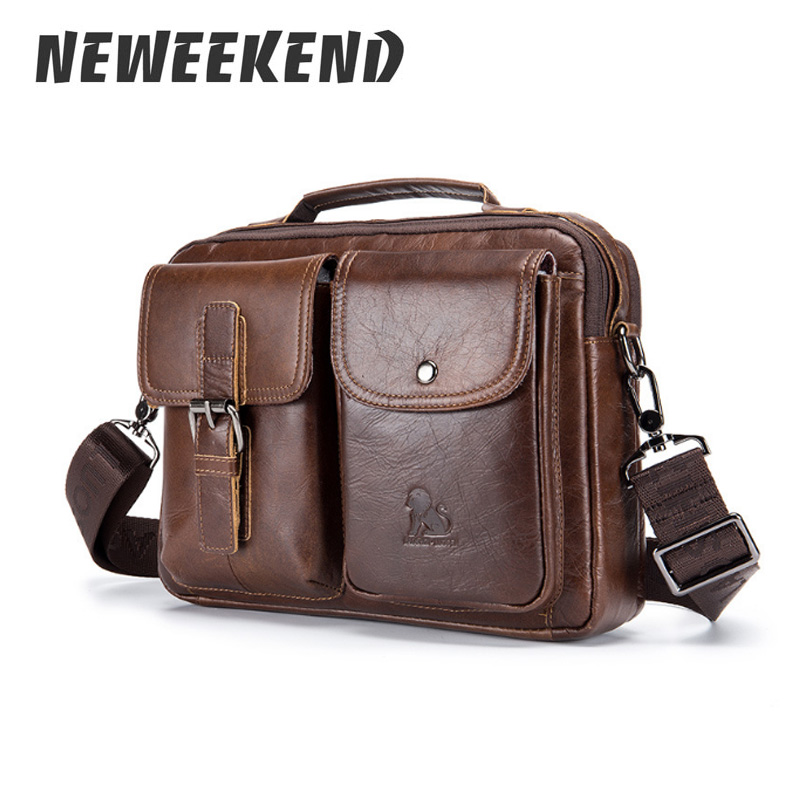 Genuine Leather Mens Bags Crossbody Bags Casual Totes Men Briefcases Laptop Messenger Bag Men's Shoulder Bag Handbags 91403 все цены