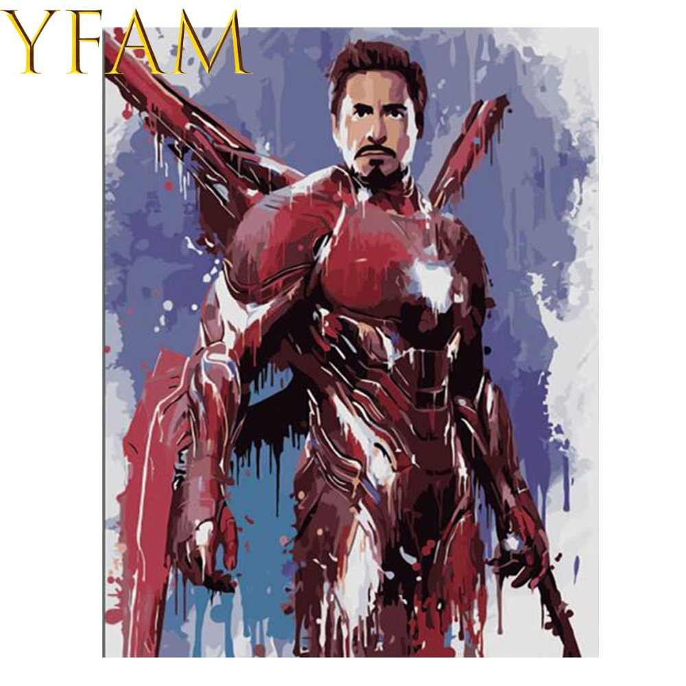 Iron Man Avengers Endgame Movie Painting By Numbers Acrylic DIY Hand Paint Drawing Modern Home Decor Wall Art Picture