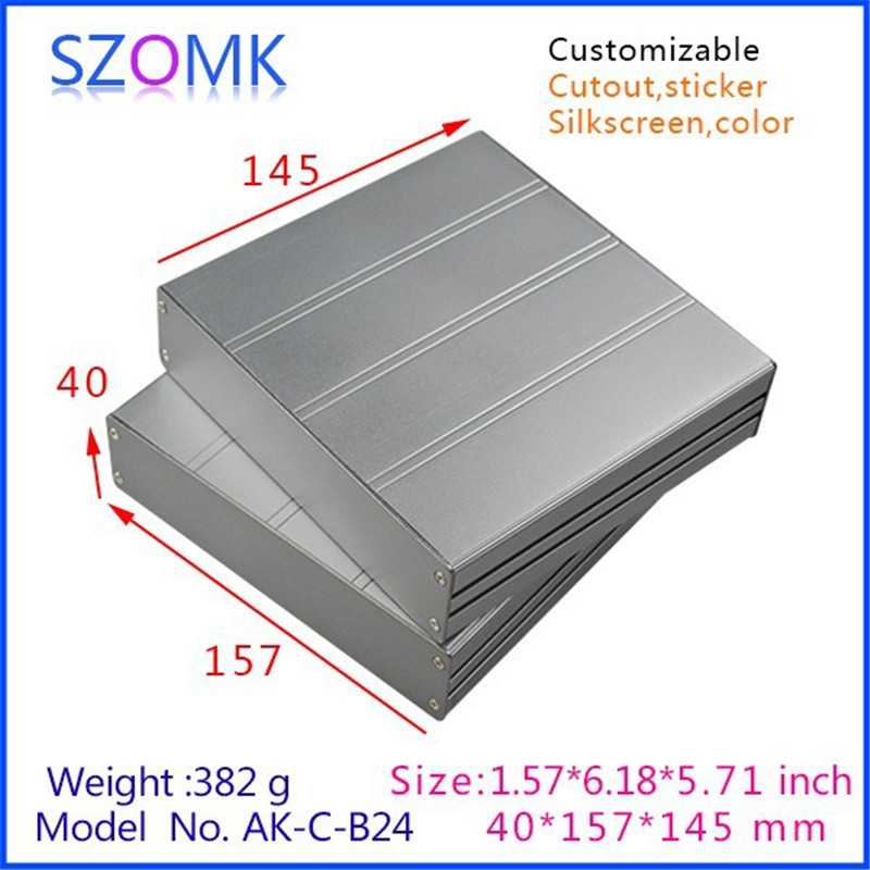 szomk electrical aluminium cabint 4pcs grey aluminum metrail enclosure for controller 40 157 145mm