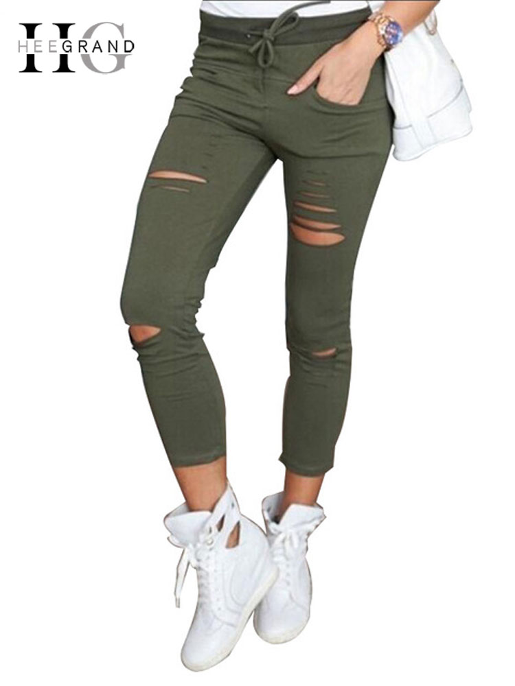 HEE GRAND Women Fashion Skinny Pencil   Pants   Ladies Stretch Drastring Casual Hole Broken Trousers Plus Size 4XL   Capris   WKP317