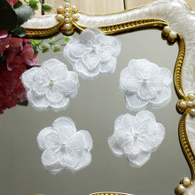 5Pieces Off White Lace Patch Flower Applique Embroidery Clothing Appliques Trim DIY Sewing Accessory Supplies Fabric
