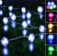 Multicolor 20m 200 Edelweiss Balls LED String Holiday Fairy Lights Party Christmas Wedding Bedroom Decoration Landscape Lighting