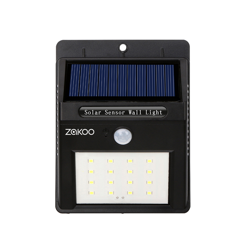 4 pezzi Impermeabile 16 LED Solar Light Pannello solare Potenza PIR Sensore di movimento LED Garden Pathway Outdoor Sense Solar Lamp Wall Light