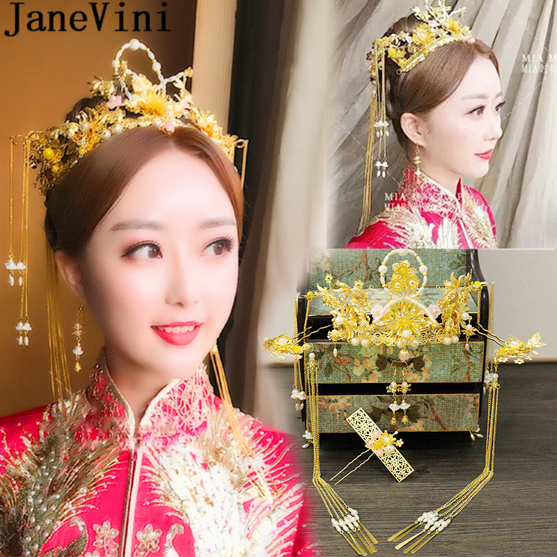 JaneVini Chinese Style Bride Wedding Headband Traditional Gold Long Tassel Wedding Party Headwear Bridal Crown and Earrings Set