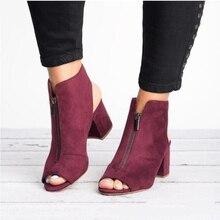 Ботильоны из искусственной замши, повседневные, с открытым носком, на высоком каблуке, на молнии, модные квадратный; резиновый, черная обувь для женщин, размер 34-43