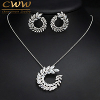 Fashion Women Costume Jewelry Sparkly Olive Branch Marquise Cut Cubic Zirconia Pendant Necklace And Earrings Sets