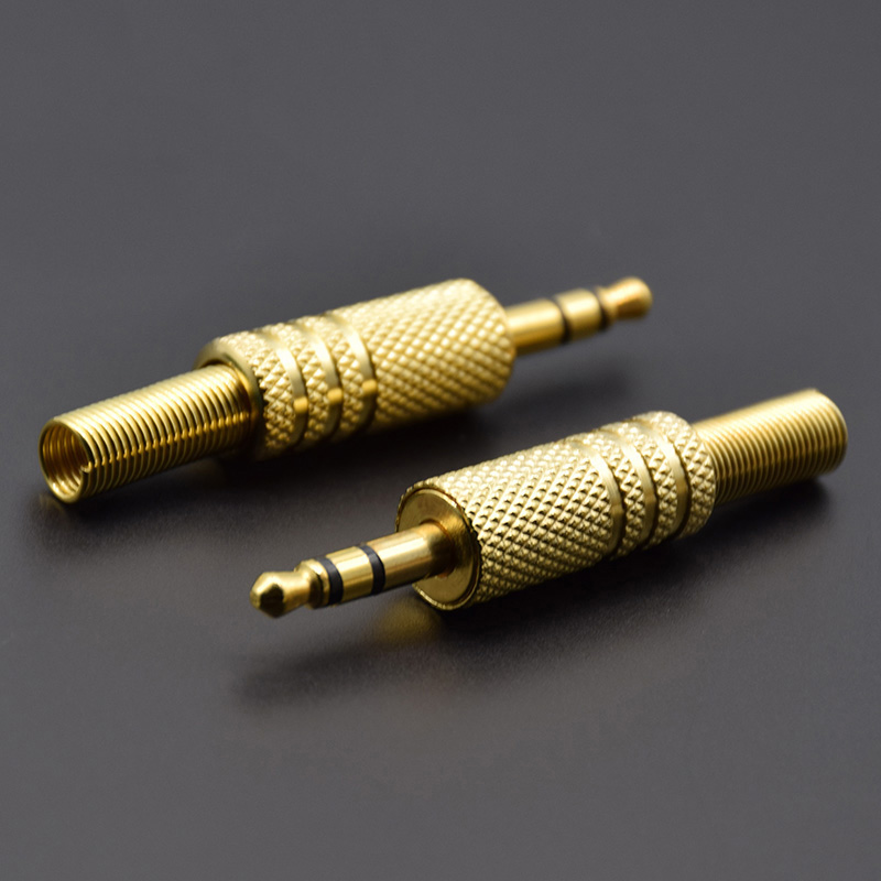 2 piezas de Metal chapado en oro de 3,5mm 1/8 Audio Video conector de enchufe Jack 4PIN forma polos conector 3,5 conector de Adaptador de Audio image