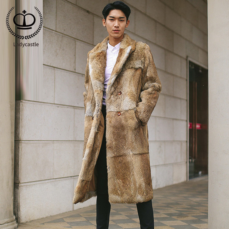 Winter New Men Real Fur Coat Fashion Style Pelt Rabbit Fur Coat With Tailored Collar Luxury Thick Warm Rabbit Fur Jacket FM 027