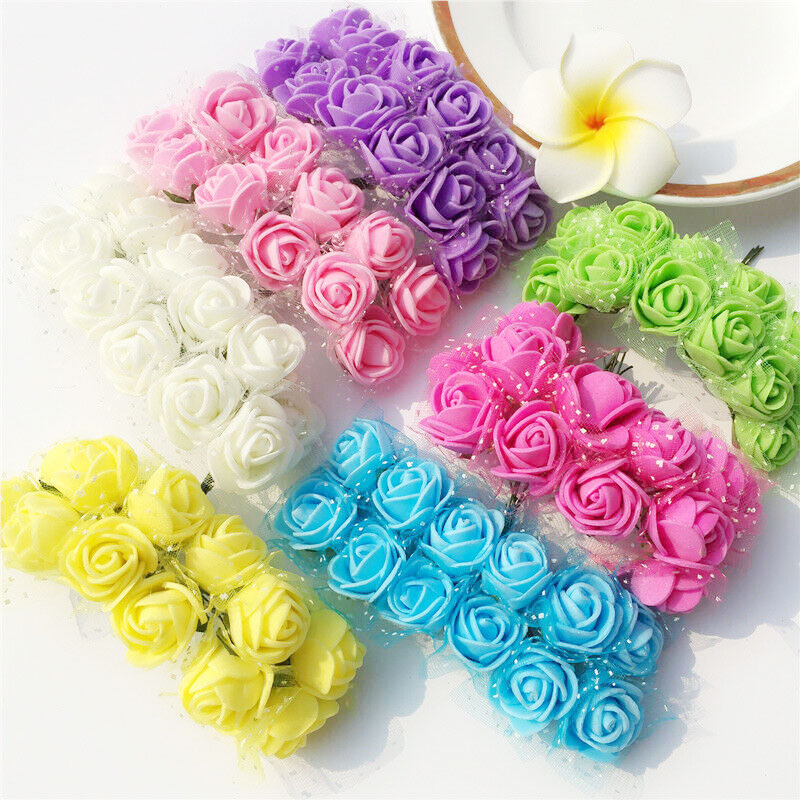 144pcs/Bag Mini Pe Multicolor Fake Foam Rose Artificial Flowers Cheap Christmas Wreath Decor For Home Wedding Diy New Year Gifts