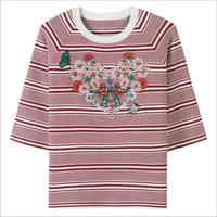 2018 Spring Summer New Female Silk Sweater Brand Shirt Red Color Embroidery Flower Knit T Shirt
