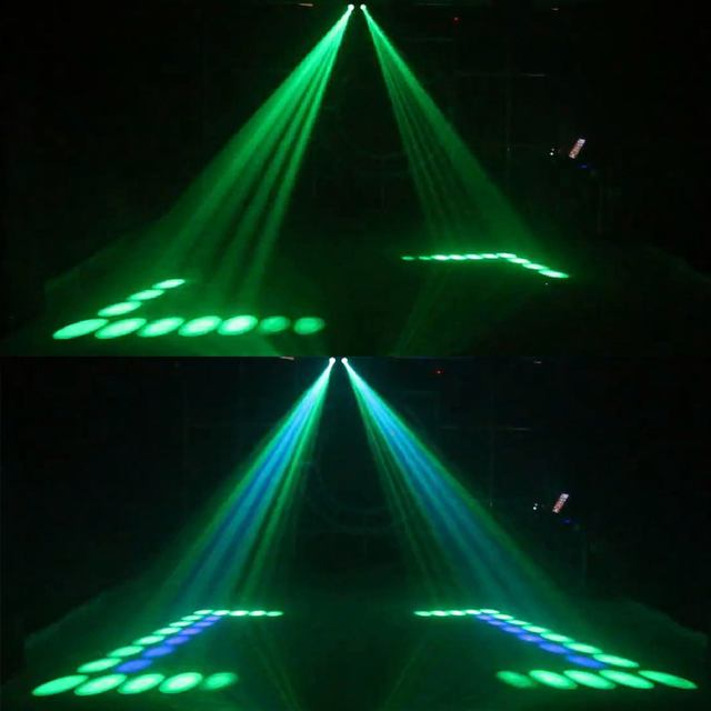 מכירה לוהטת נייד מוסיקה אוטומטי/קול Actived 128 led RGBW אורות כפול ראש לייזר שלב אפקט תאורת מועדון דיסקו Dj מסיבת בר
