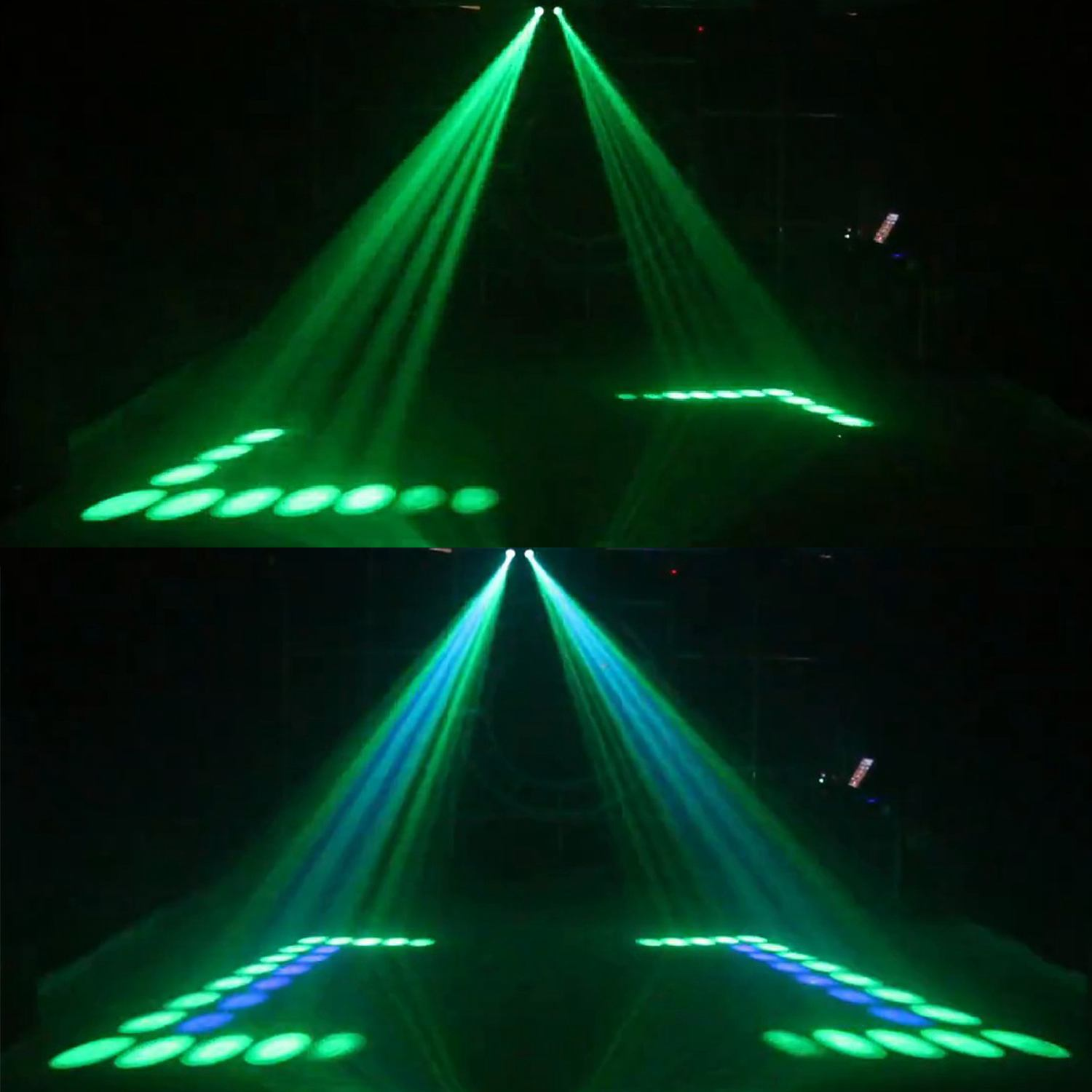 Hot sale Portable Music Auto/Sound Actived 128 LED RGBW Lights Double Head Laser Stage Effect Lighting Club Disco DJ Party Bar-in Stage Lighting Effect from Lights & Lighting