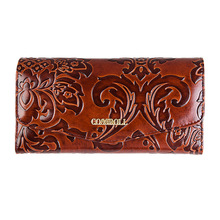 Fashion flower women wallet genuine leather luxury brand leather women purse female envelope wallet for women long lady clutch