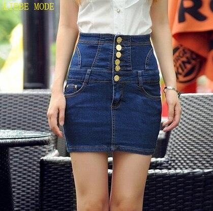 736b289349 Modest Designer Black Blue High Waist Denim Skirts Women Sexy Back String  Pencil Skirt Jeans Single Button Jupe Femme XXXL 4XL