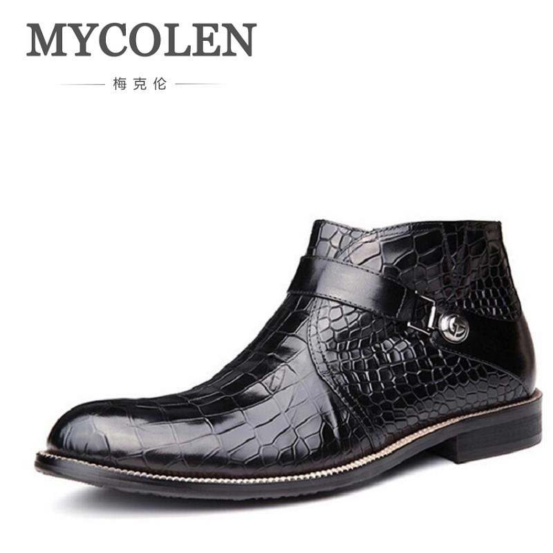 MYCOLEN Men Shoes 2018 Top Fashion New Winter Casual Ankle Boots Stone Pattern Leather Shoes Men Buckle Footwear Erkek Bot fashion rooster and stone pattern 10cm width wacky tie for men