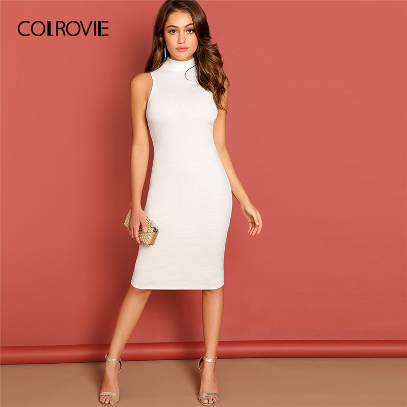 COLROVIE White Stand Collar Rib Knit Pencil Elegant Midi Dress Women 2019 Summer Sleeveless Bodycon Slim Office Female Dresses