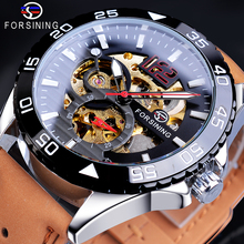Forsining Creative Mechanical Sport Watches Men's Automatic Half Color Dial Brown Leather Band Racing Outdoor Watch Reloj Hombre стоимость