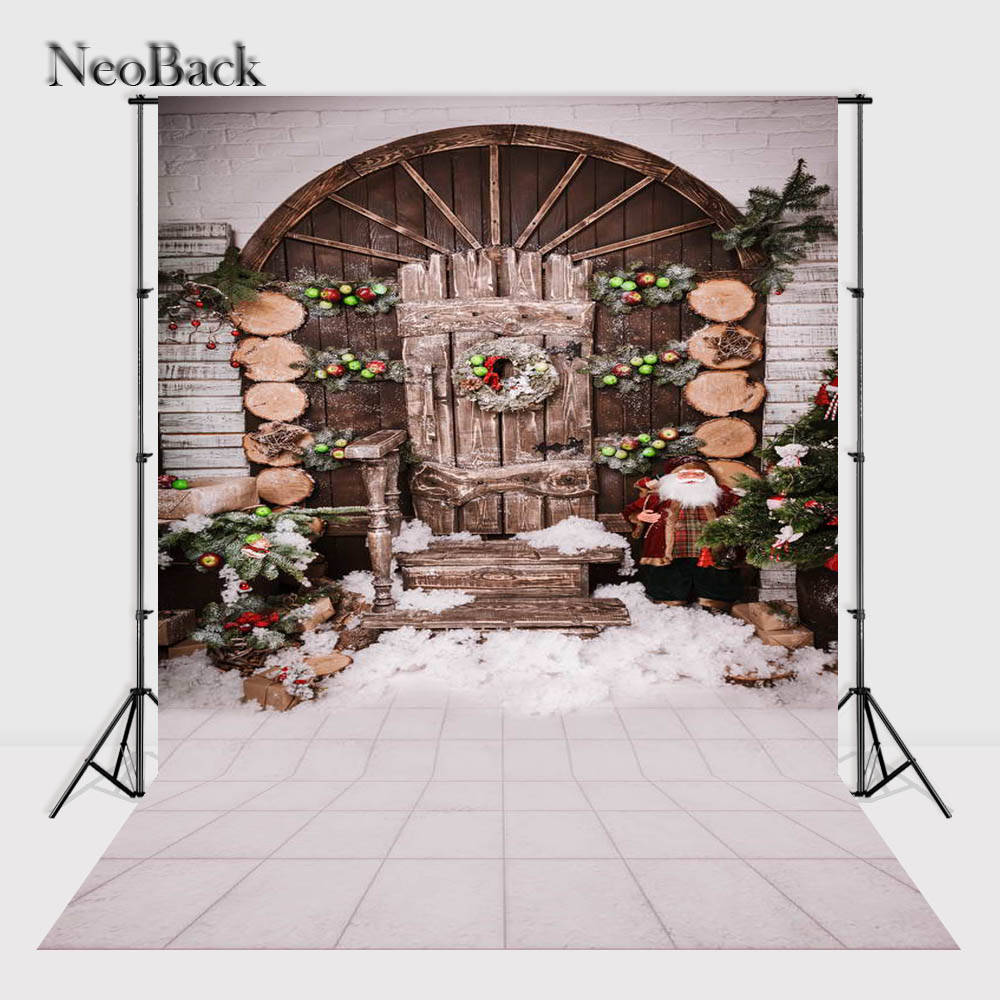 NeoBack    New 5X7ft  baby Christmas gifts backdrop  Printed vinyl fireplace photography background photo studio A1135 thin vinyl vintage book shelf backdrop book case library book store printed fabric photography background f 2686