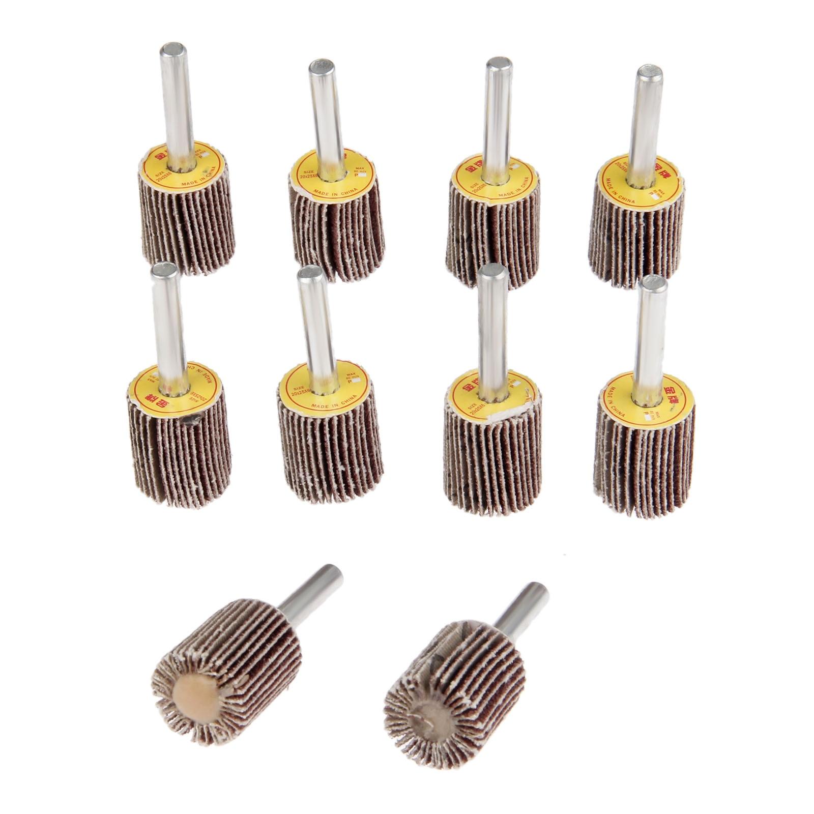 10Pcs Dremel Accessories Grinding Buffing Sandpaper Sanding Flap Wheel Head 20mm+Mandrel 6mm For Mini Drill Rotary Tools 80-Grit