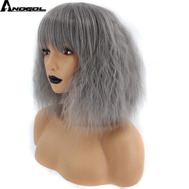 Anogol Dark Grey Glueless Short Curly Bob High Temperature Fiber Synthetic Cosplay Wigs With Bangs