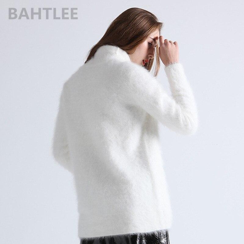 Bahtlee Blanco Jerseys Larga Tejer Manga Estilo Puente Mujeres Alto Cuello De Las Invierno Largo White Angora Suéter Caliente UwHaUSq