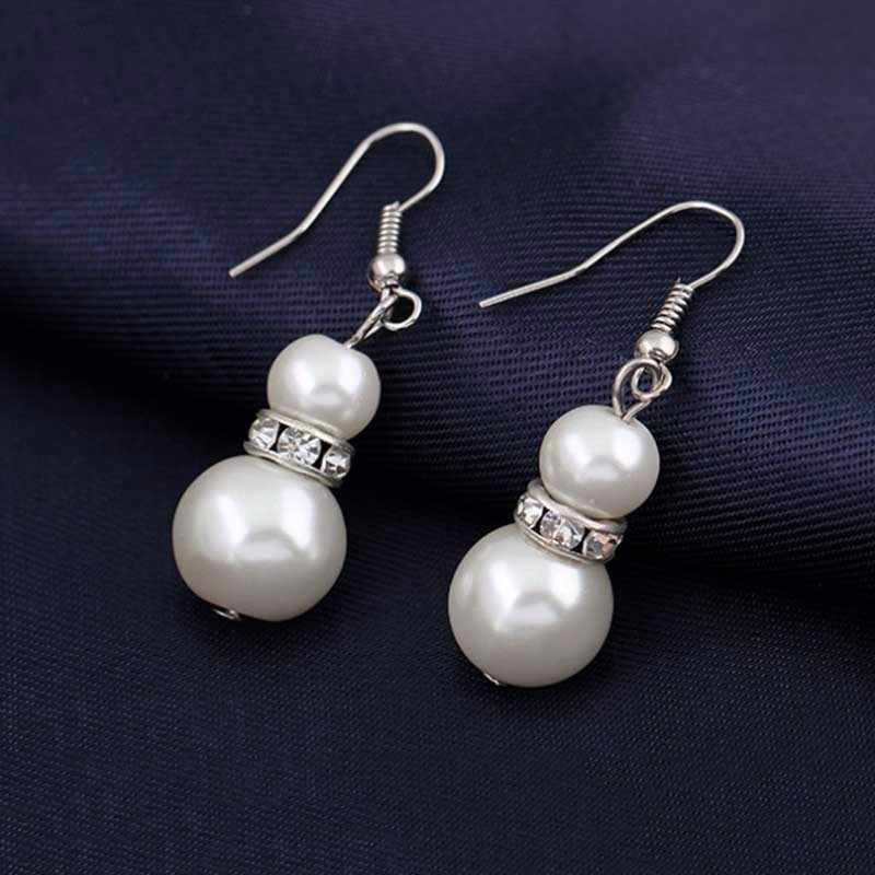 Jewelry Sets Simulated-Pearl Necklace Bracelet Earrings Women Jewelry Sets Inlay CZ Bride Set Women Wholesale Jewelry