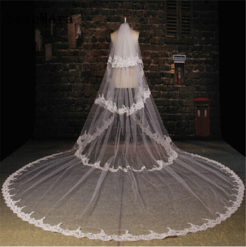 Hot Sale White Bridal Veils 3 Layers Lace Applique Soft Netting Wedding Veil Cathedral Velo Custom Made High Quality White Ivory