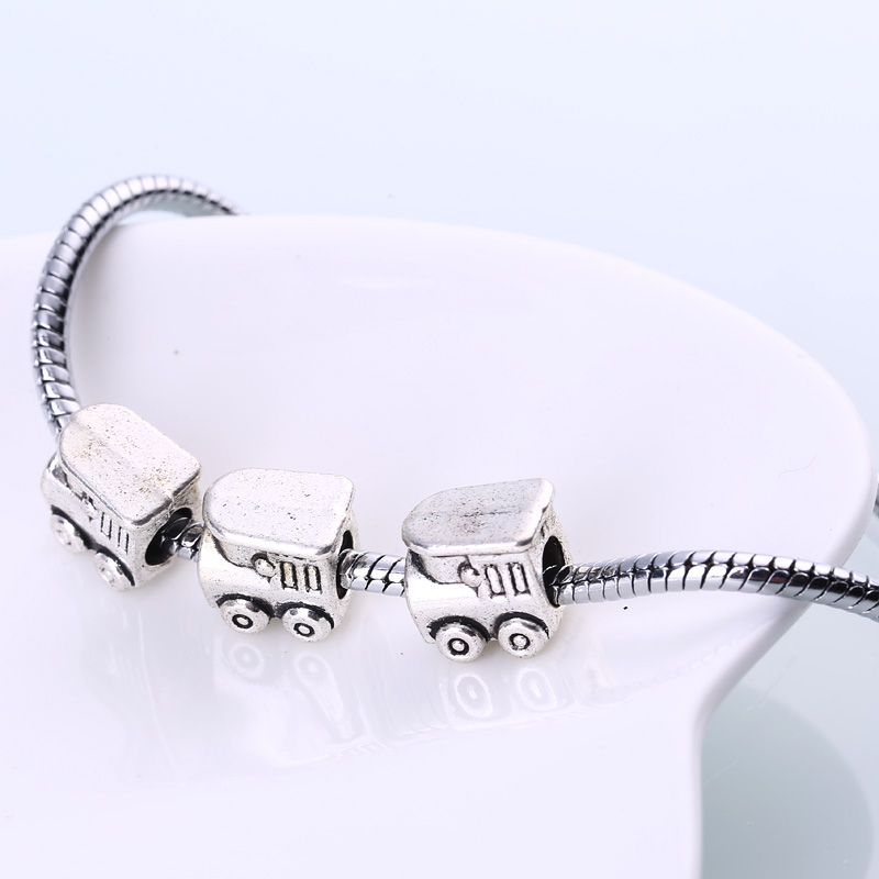 Vintage Metal Train Beads Fit Pandora Charms DIY Antique Silver Zinc Alloy Train Beads for Jewelry Making 20pcs BC1012
