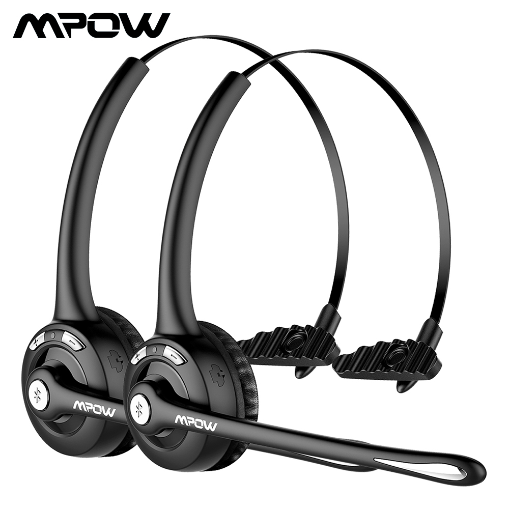 2pcs Mpow MBH15 Over-the-Head Driver's Rechargeable Wireless Bluetooth Headset with Mic Hands-free Noise Cancelling Headphones sony mdrzx310ap over head headphones with mic