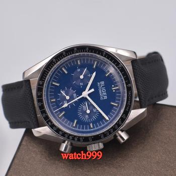 40mm Bliger leather strap watches men blue dial Multifunction mechanical automatic men's watch