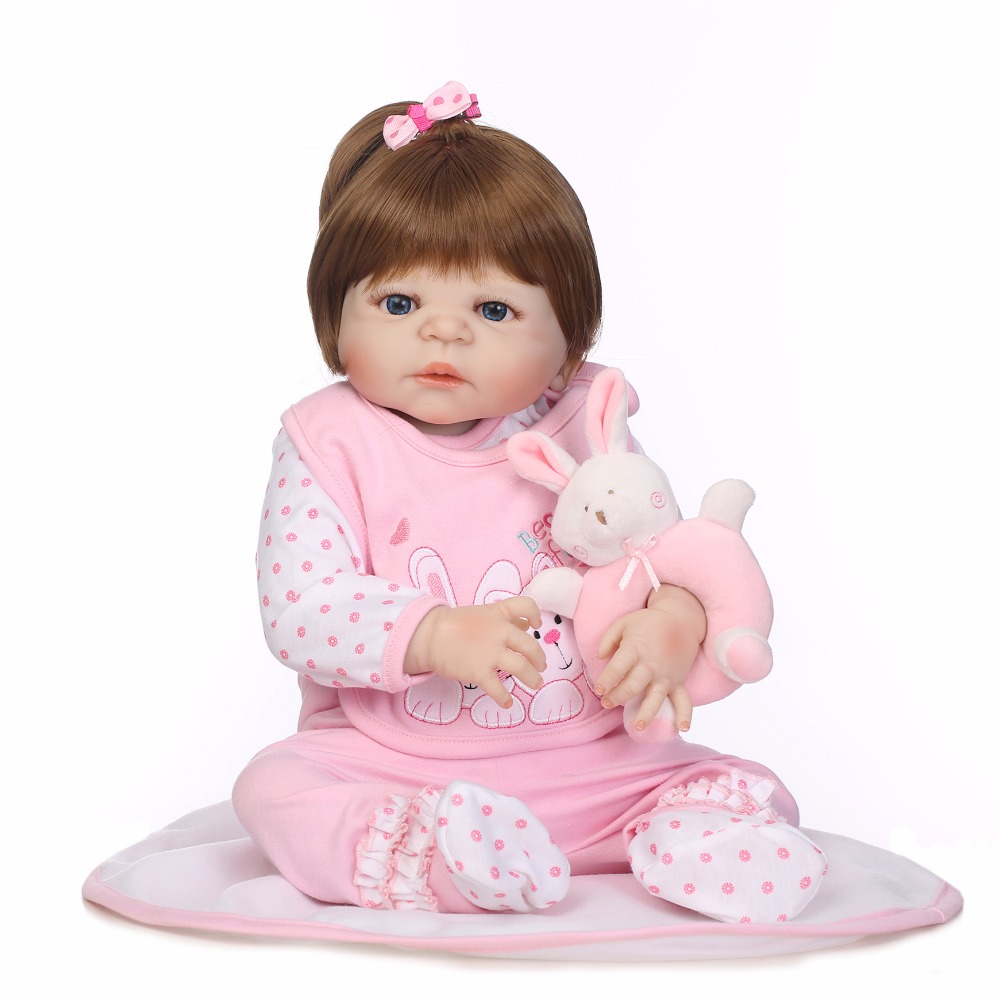 55cm Full Body Silicone Reborn Sweet Girl Baby Doll Toys Newborn Princess Toddler Babies Doll Birthday Gift Child Bathe Toy hot 57cm full body silicone reborn sweet girl baby doll toys newborn princess toddler babies doll birthday gift child bathe toy