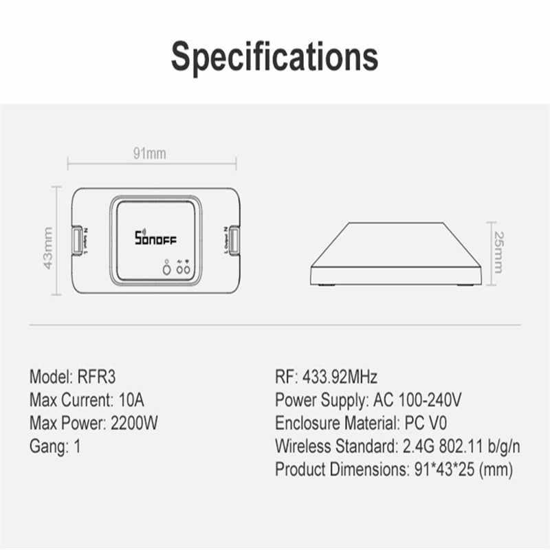 Nuevo SONOFF 433 RF R3 inteligente en/OFF WiFi interruptor compatible con la aplicación/433 RF/LAN/Control remoto de voz modo DIY funciona con Alexa Google Home