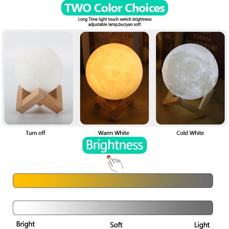 Decorative Lamps Moon Lamp 3D Print Rechargeable Touch Swich Bedroom 8CM 9CM 10CM 15CM 18CM 20CM Creativity