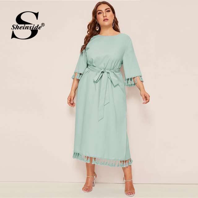 Sheinside Plus Size Elegant Fringe Detail Midi Dress Women 2019 Spring 3/4 Sleeve Belted Dresses Ladies Solid Straight Dress 2