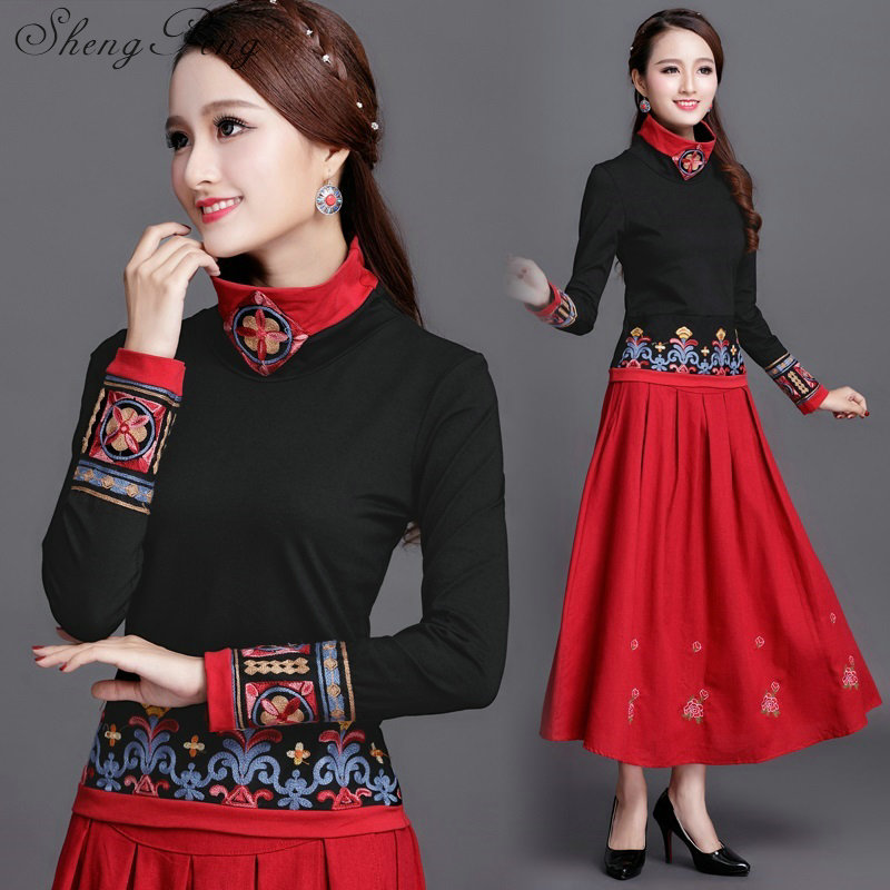 faa2e2d8e6397e Cheongsam top traditional chinese clothing women tops womens long sleeve  tops Vintage embroidery CC230