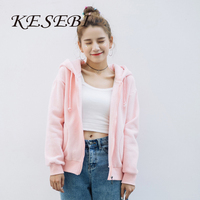 Kesebi 2016 Autumn Winter Women Thick Warm Long Sleeve Zipper Fleece Sweatshirts Female Solid Color Hooded