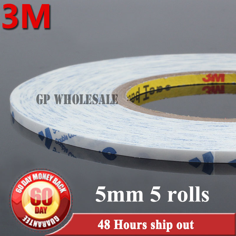 5x 5mm*50M Double Sided Sticky Tape for Tablet Mobilephone LCD /Touch Panel /Dispaly /Screen Housing Glass PCB Repair White 3M 1x 76mm 50m 3m 9448 black two sided tape for cellphone phone lcd touch panel dispaly screen housing repair