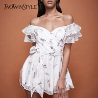 TWOTWINSTYLE Lace Embroidery Playsuits Female Print Off Shoulder Strapless Belt High Waist Big Size Jumpsuits 2018